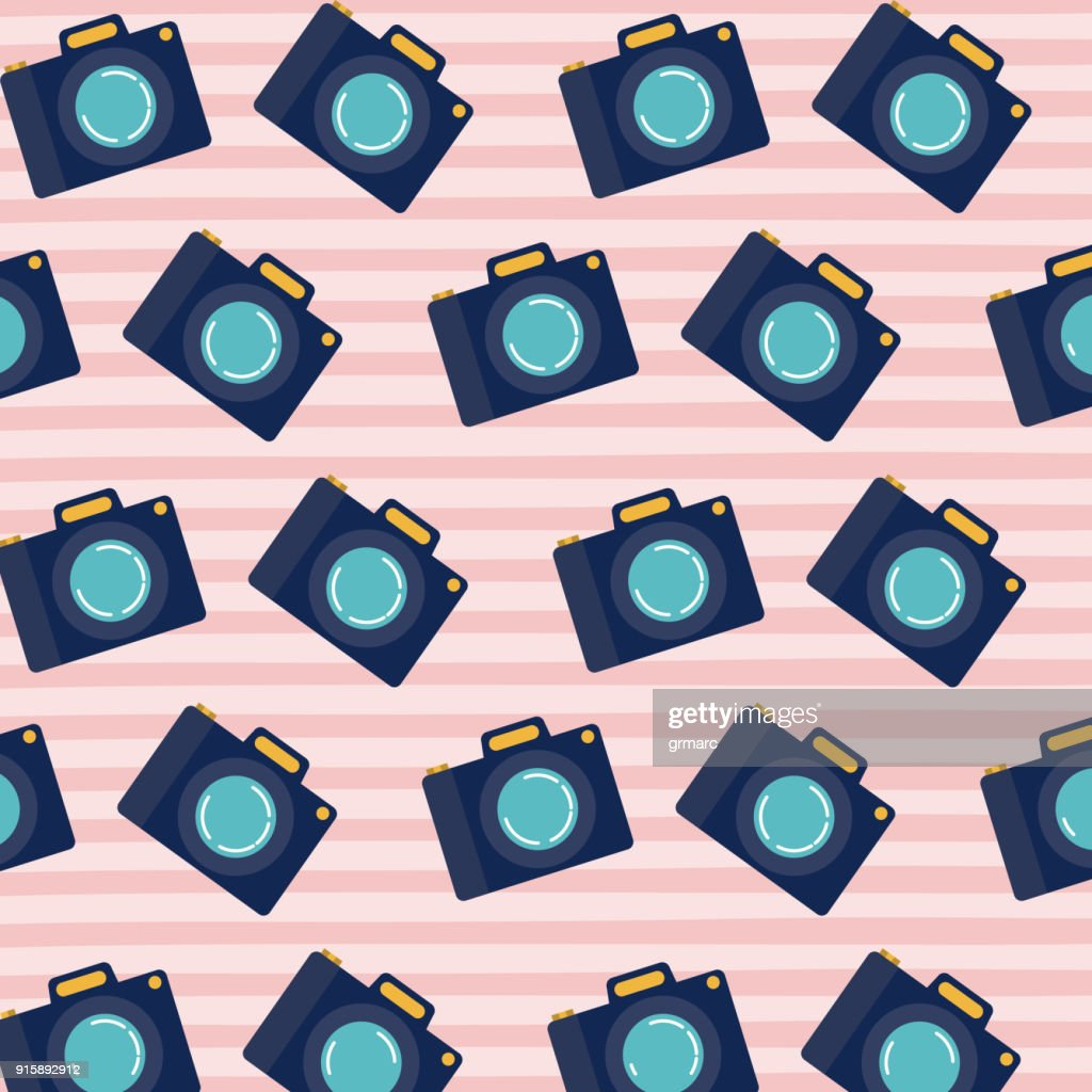 analog camera pattern set on pop art linear color background