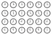 Analog Clock Icons. Black Flat Design. Vector Illustration.