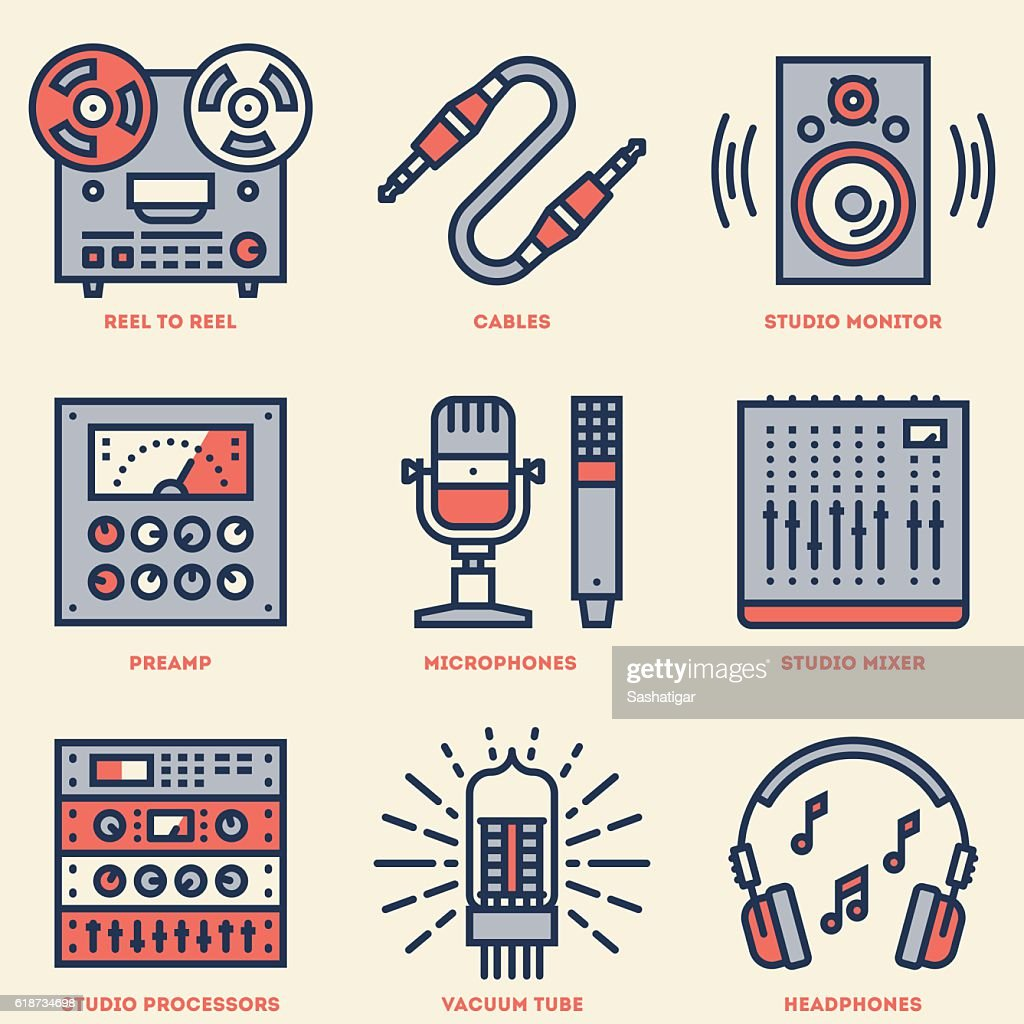 Analog Recording Music Studio. Line Design Retro Icon Set.