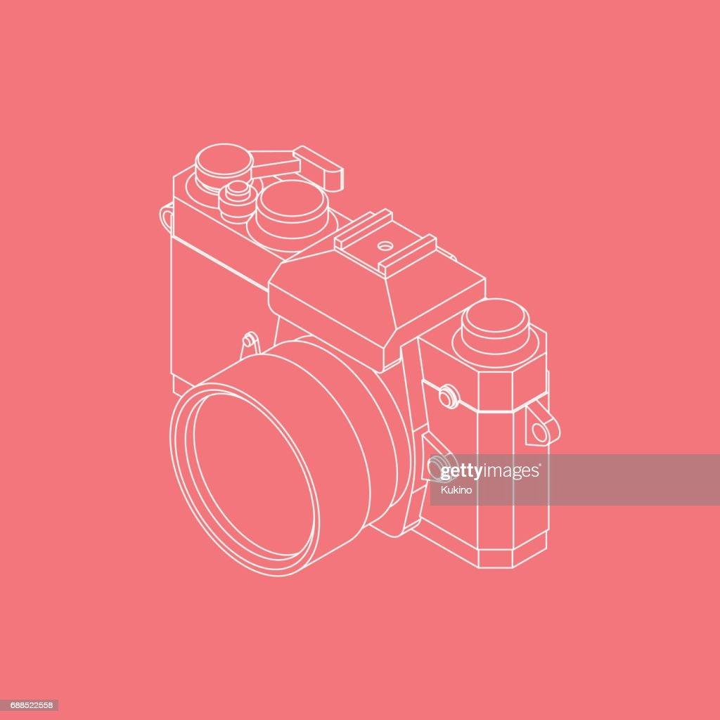 Analog SLR Camera Vector Illustration VOL.02