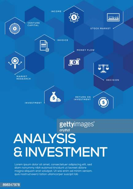 analysis and investment. brochure template layout, cover design - spreadsheet stock illustrations
