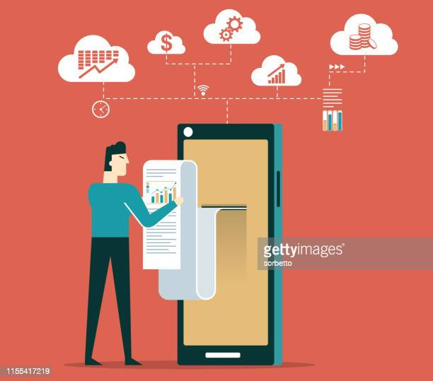 analysis and statistic online services - businessman - accountancy stock illustrations