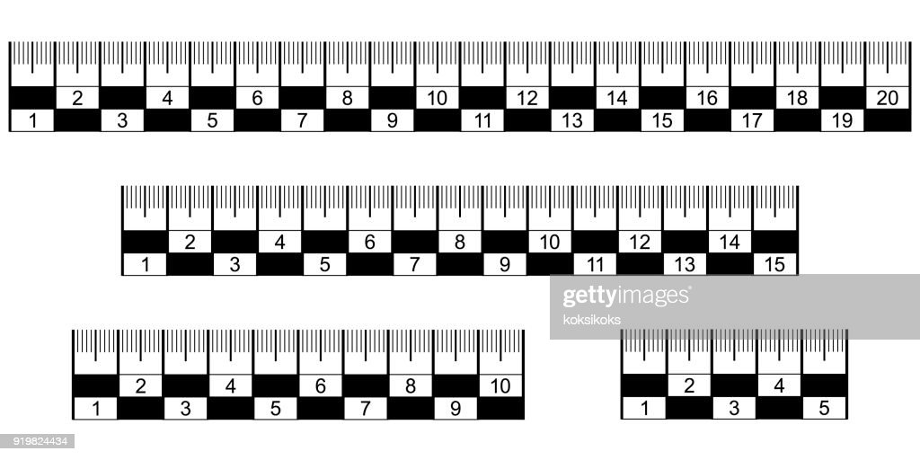 Analysis crime scene judicial measuring ruler, vector set ruler lines for inspection of the crime scene and fixing the dimensions of individual small in volume and area of objects