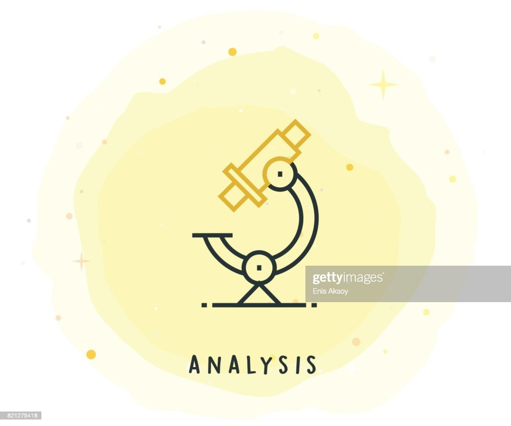 Analysis Icon with Watercolor Patch : stock illustration