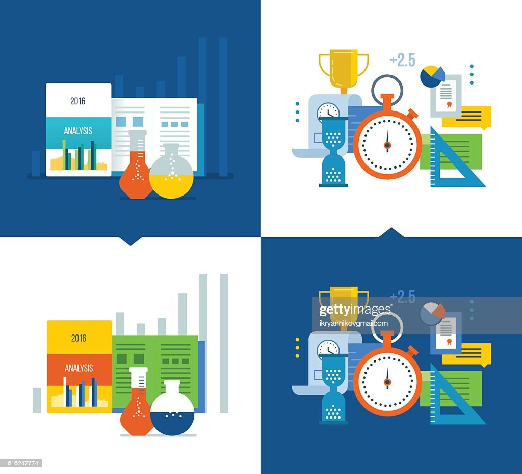 Analysis, strategy studies, acquisition of knowledge, project management, time : Vector Art