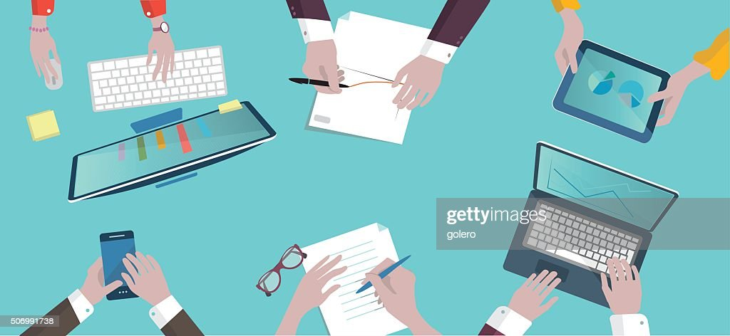 analytic business meeting flat design on top illustration : stock illustration