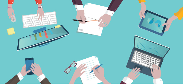 analytic business meeting flat design on top illustration - gettyimageskorea