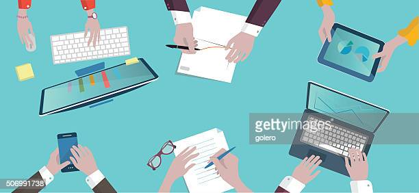 analytic business meeting flat design on top illustration - teamwork stock illustrations