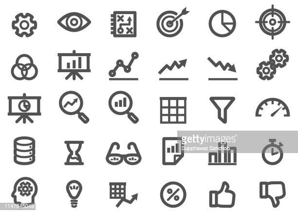 analytic thickness line icons set - thick stock illustrations