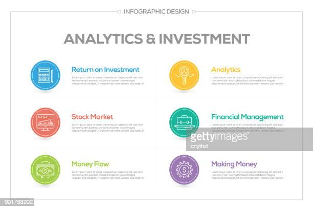 Analytics and Investment Infographic with 6 options, steps or processes.