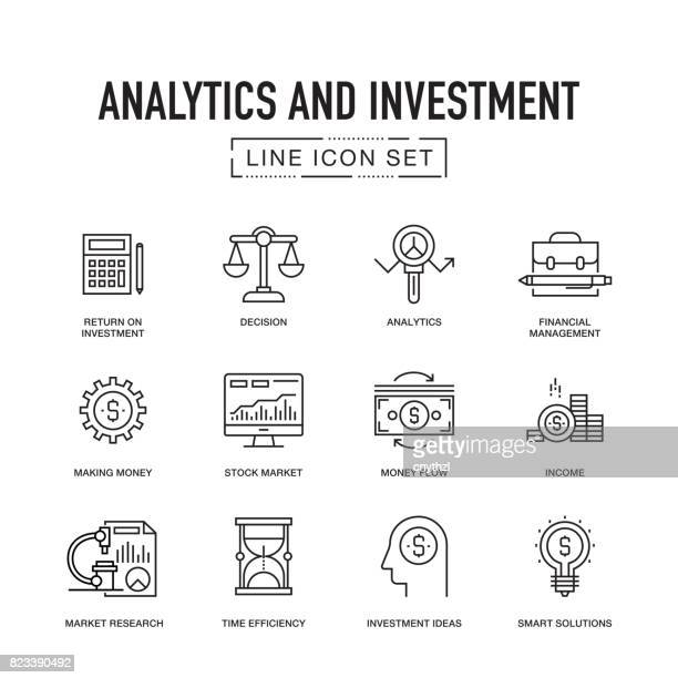 analytics and investment line icon set - accountancy stock illustrations, clip art, cartoons, & icons