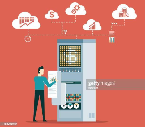 illustrazioni stock, clip art, cartoni animati e icone di tendenza di analytics - uomo d'affari - centro elaborazione dati