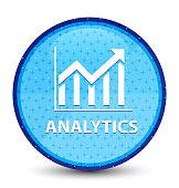 Analytics (statistics icon) galaxy cyan blue round button