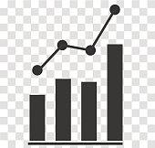 analytics icon on transparent. analytics sign. flat style. bar chart analytics symbol.