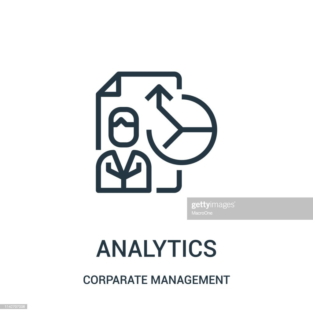analytics icon vector from corparate management collection. Thin line analytics outline icon vector illustration. Linear symbol for use on web and mobile apps, logo, print media.