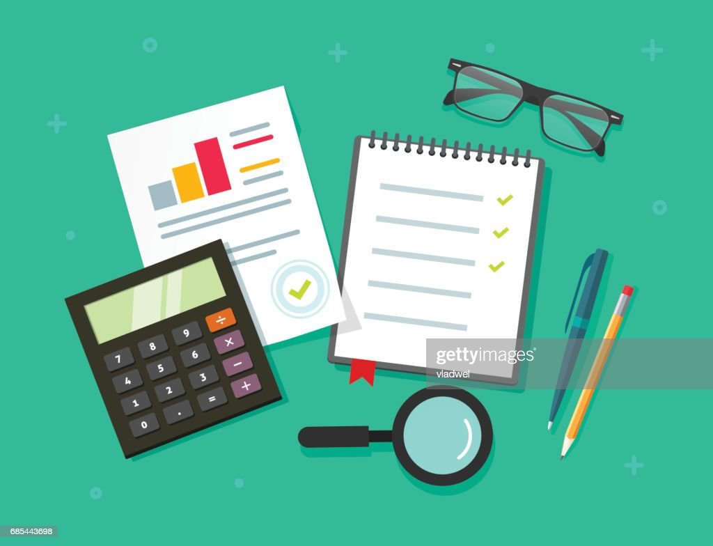 Analytics planning things data on table top view, audit evaluation process, financial research report with graphs, analyzing, survey or checklist on notebook vector flat cartoon style