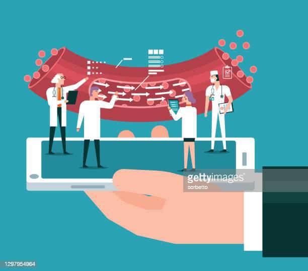 analyzing - blood vessel - blood clot stock illustrations