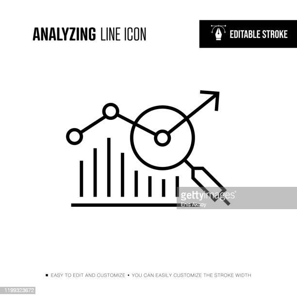 analyzing line icon - editable stroke - market research stock illustrations