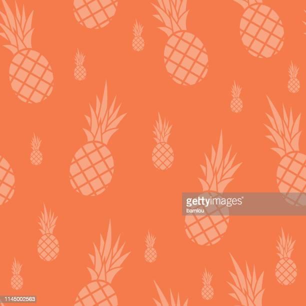 illustrations, cliparts, dessins animés et icônes de motif sans soudure d'ananas fond corail - ananas