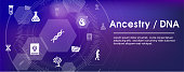 Ancestry or Genealogy Icon Set web banner w Family Tree Album, family record, etc
