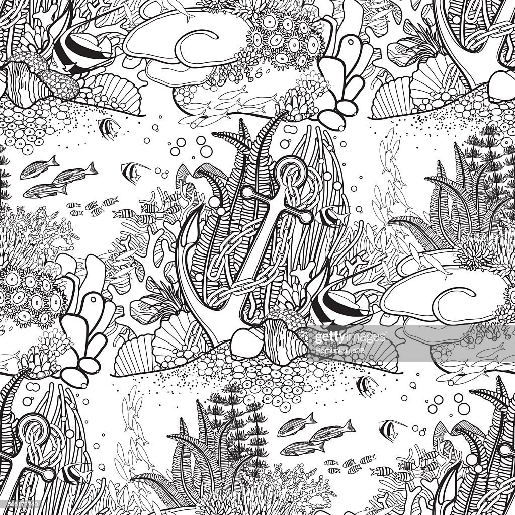 Anchor and coral reef pattern