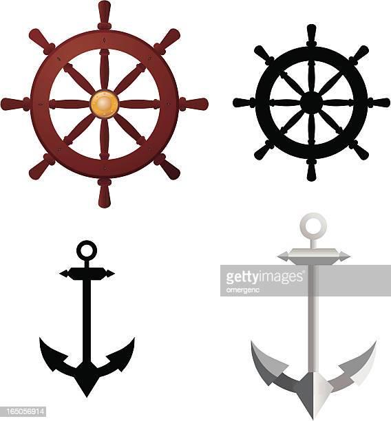 anchor and ship's wheel