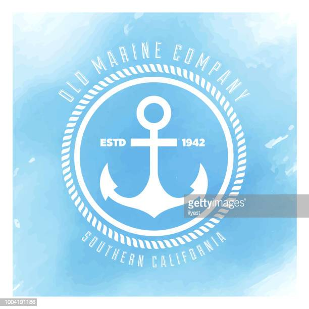 anchor badge watercolor background - rope stock illustrations