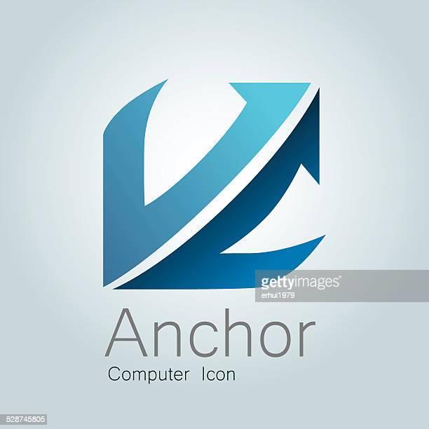illustrations, cliparts, dessins animés et icônes de ancre icône d'ordinateur - ancre