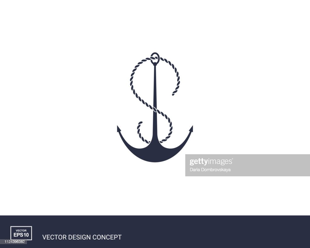 Anchor emblem with rope. Yacht style design.