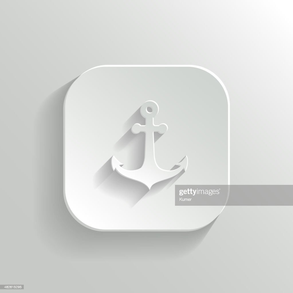 Anchor icon - vector white app button
