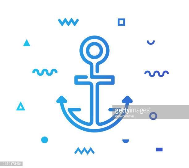 illustrations, cliparts, dessins animés et icônes de conception d'icône de style de ligne d'ancrage - ancre