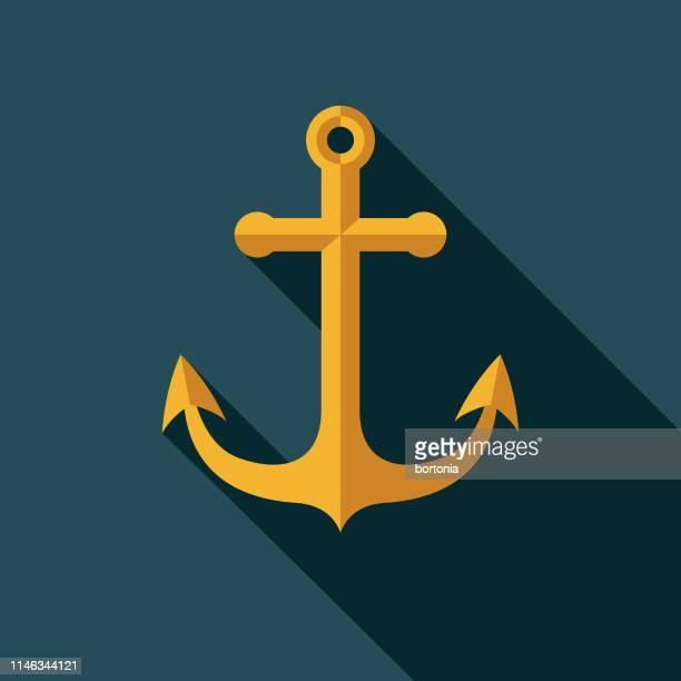 illustrations, cliparts, dessins animés et icônes de icône de conception plate nautique ancre - ancre