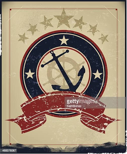anchor nautical retro background - us marine corps stock illustrations, clip art, cartoons, & icons