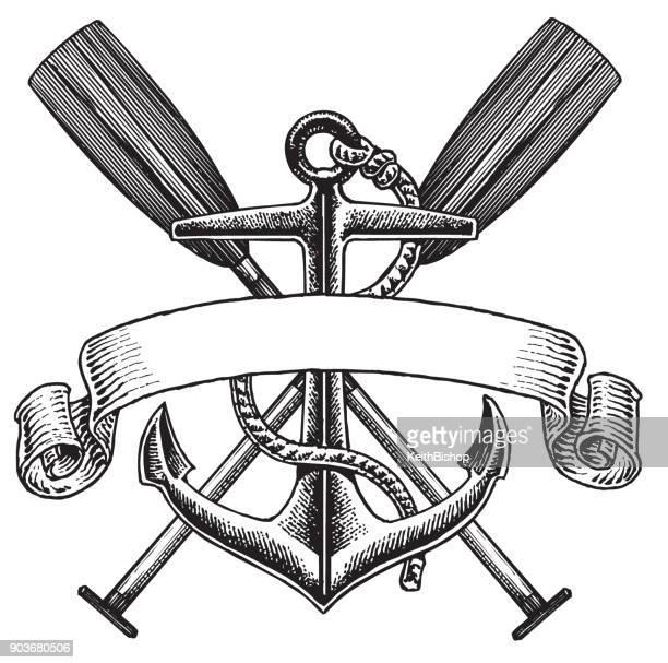 Anchor Oar Banner Symbol