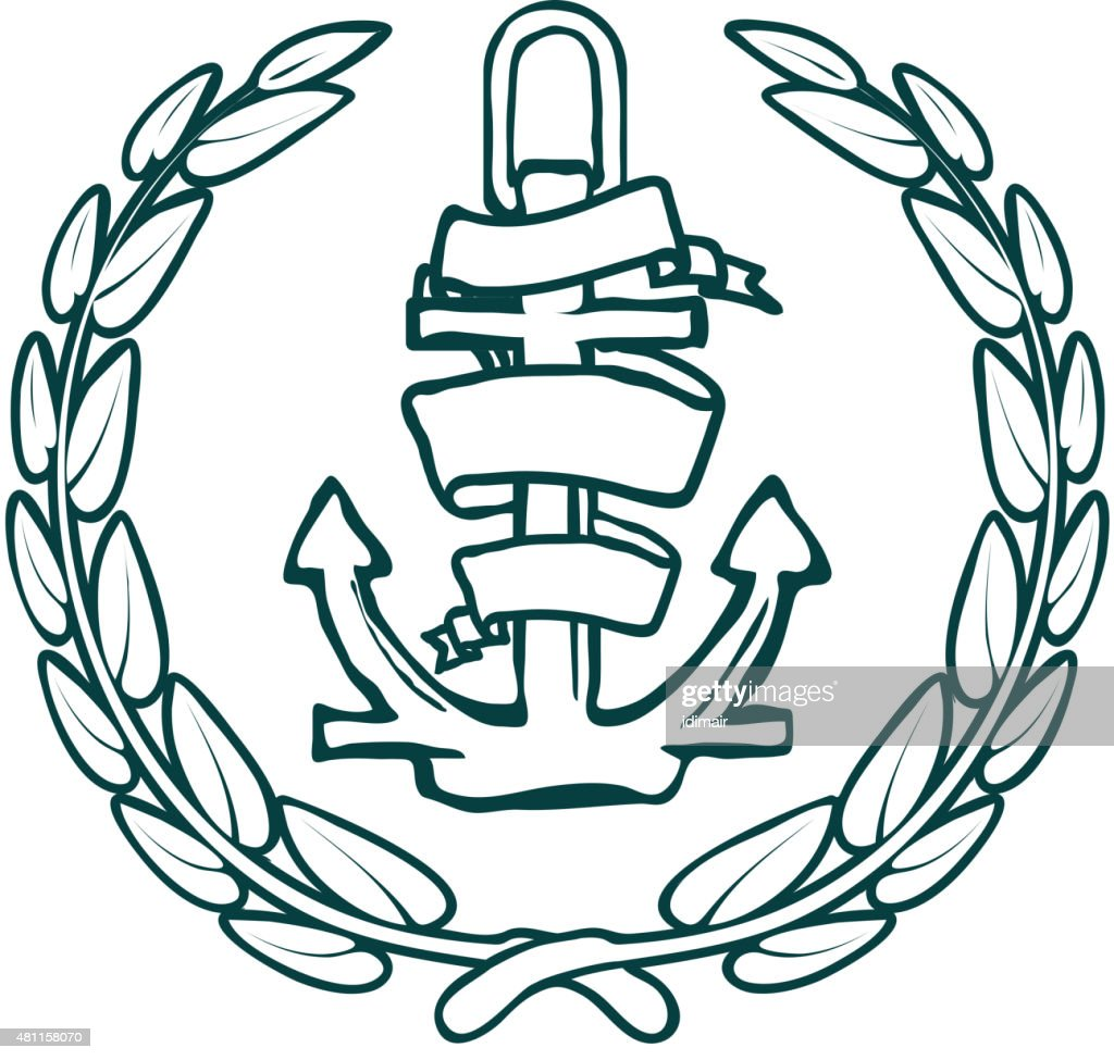 Anchor with Banner and laurel. Vector