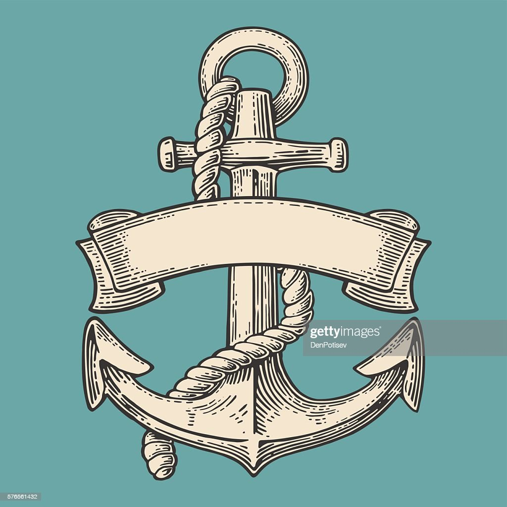 Anchor with ribbon and rope isolated on blue background.