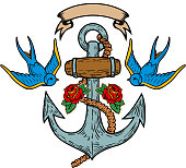 Anchor with swallows and roses. Tattoo design. Vector illustration