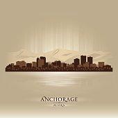 Anchorage Alaska city skyline silhouette