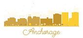 Anchorage City skyline golden silhouette.