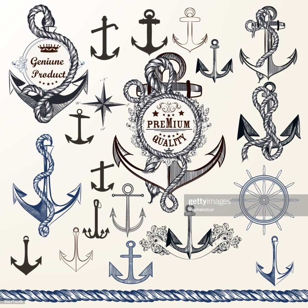 Anchors, labels for logotype or print design in vintage style. Hand drawn set