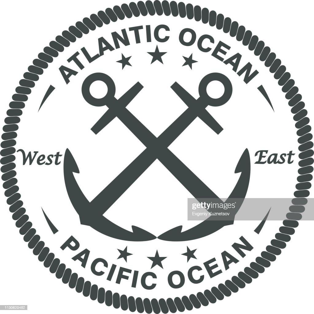 Anchors text rope and stars. Sea emblem