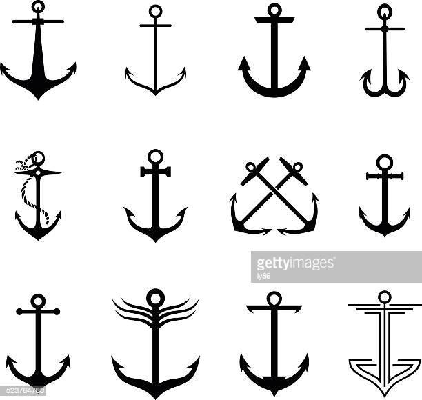 ilustraciones, imágenes clip art, dibujos animados e iconos de stock de anclaje - azul marino