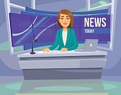 Anchorwoman character on tv. Breaking News. Vector flat cartoon illustration