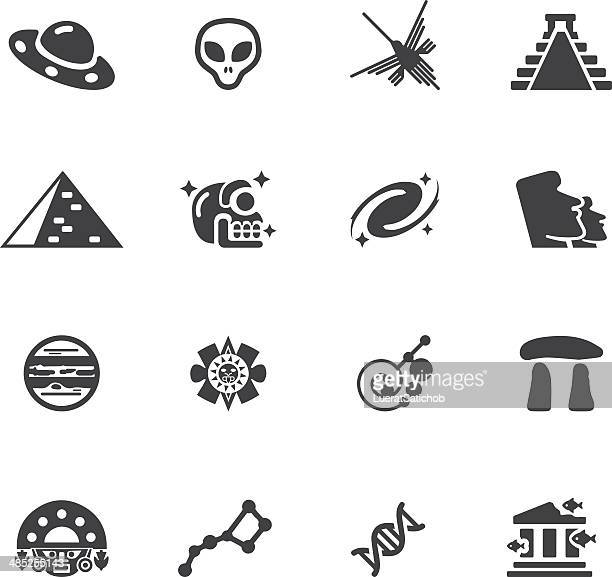ancient alien silhouette icons l eps 10 - space shuttle atlantis stock illustrations