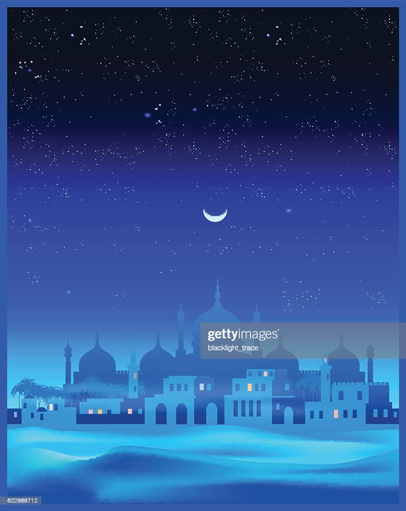 Ancient Arab town at night