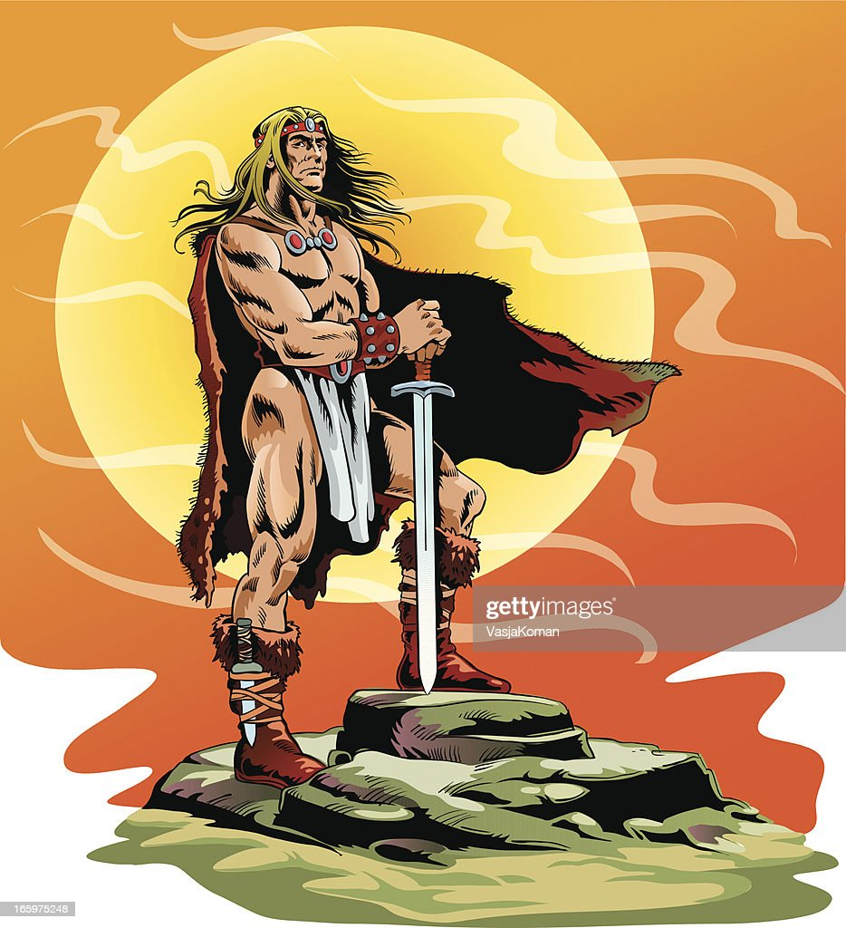 Ancient Barbarian Warrier Holding his Sword