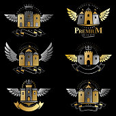 Ancient Bastions emblems set. Heraldic vector design elements collection. Retro style label, heraldry.