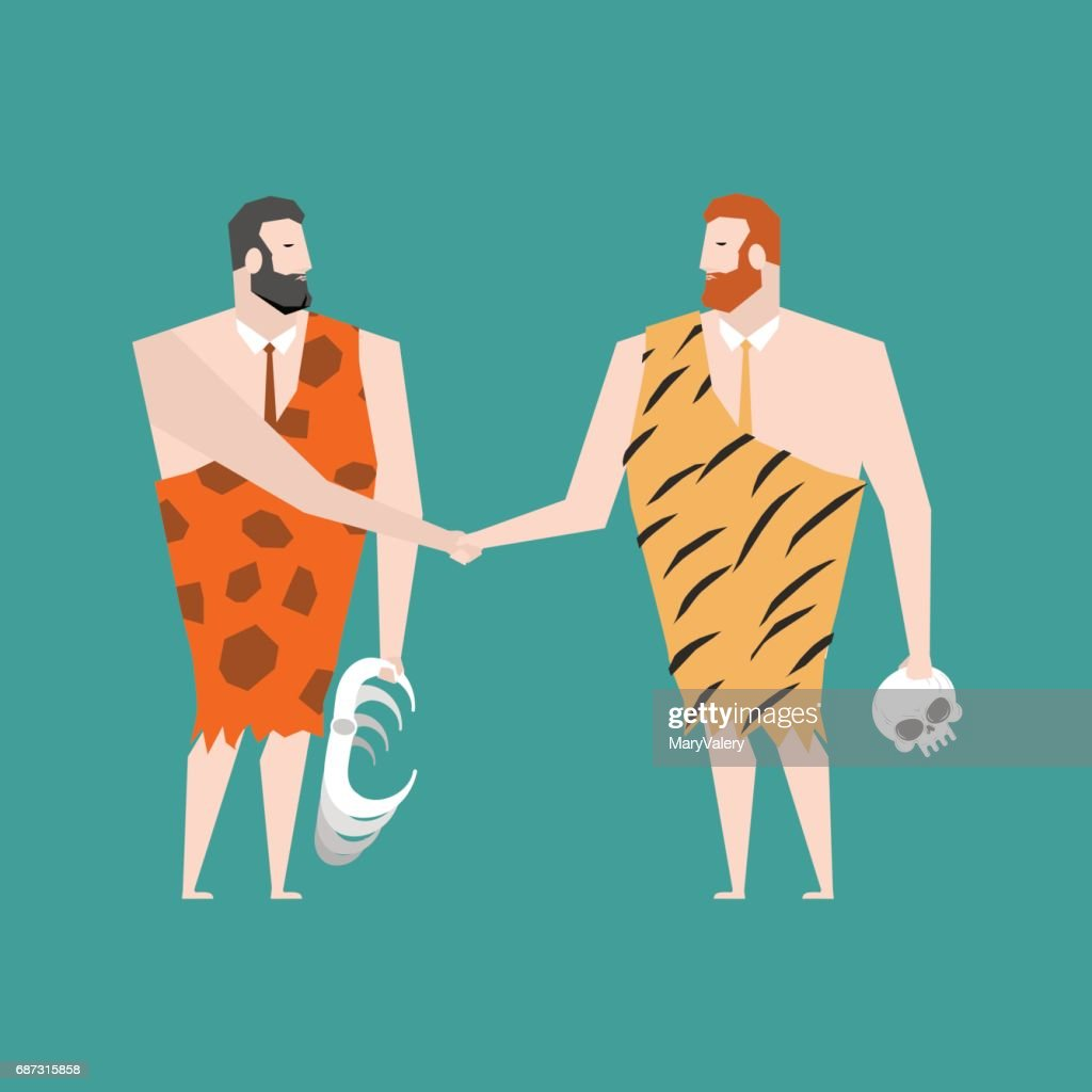 Ancient businessman deal. Neanderthal Agreement. Prehistoric man handshake. Clothing animal skins