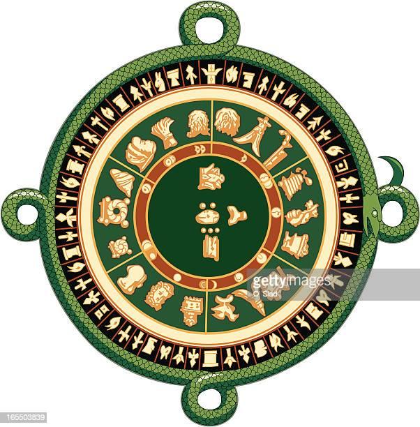 ilustraciones, imágenes clip art, dibujos animados e iconos de stock de antigua calendario maya - calendario maya