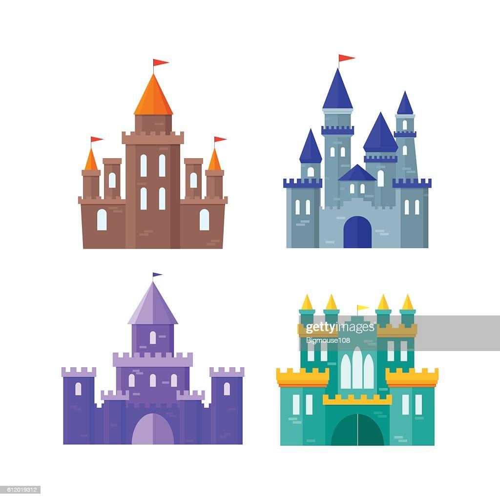 Ancient Castle Building Set. Vector